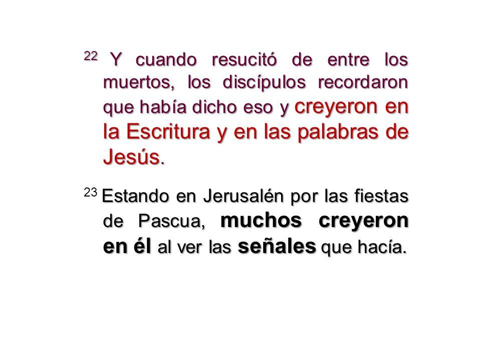 22 Y cuando resucitó de entre los muertos, los discípulos recordaron que había dicho eso y creyeron en la Escritura y en las palabras de Jesús. Estand