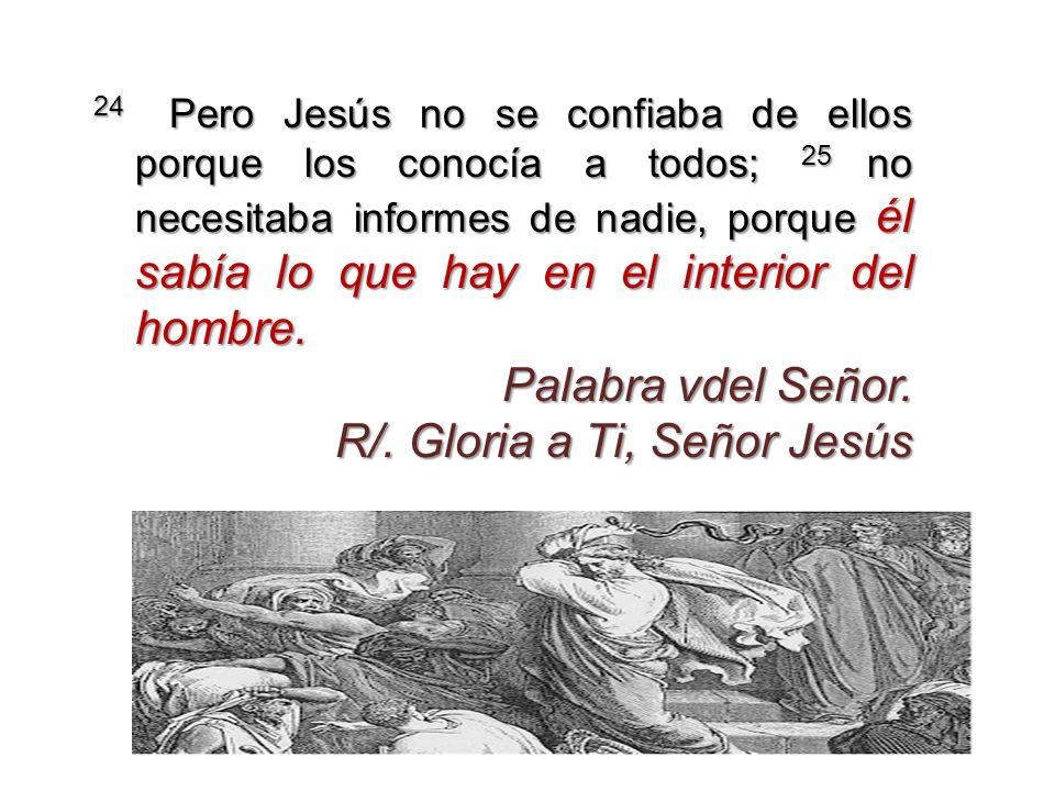 24 Pero Jesús no se confiaba de ellos porque los conocía a todos; 25 no necesitaba informes de nadie, porque él sabía lo que hay en el interior del ho