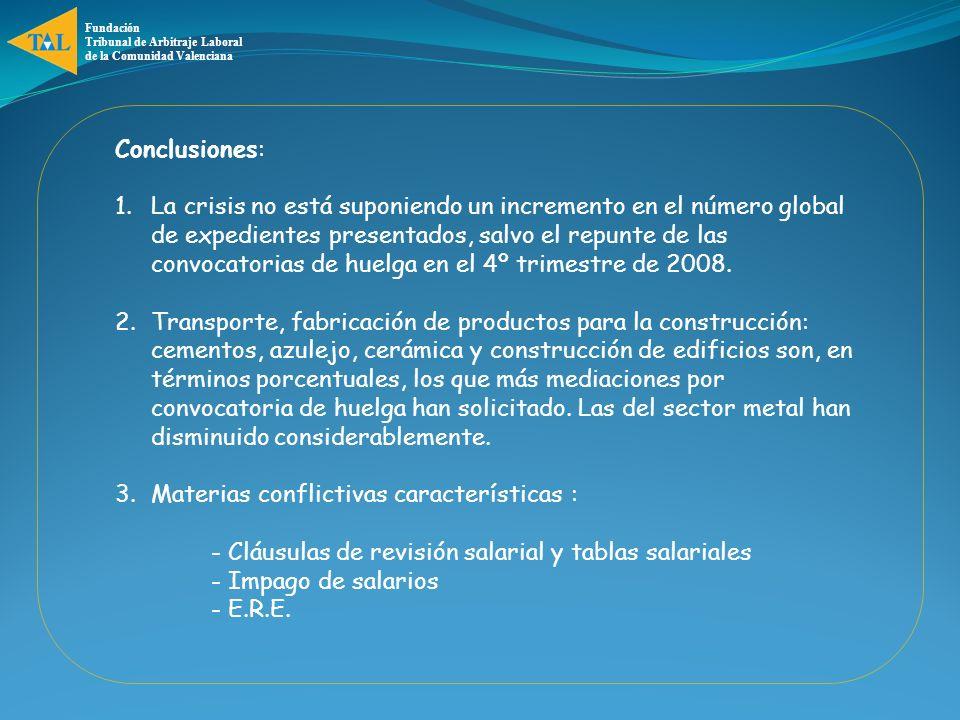 Fundación Tribunal de Arbitraje Laboral de la Comunidad Valenciana Conclusiones: 1.La crisis no está suponiendo un incremento en el número global de expedientes presentados, salvo el repunte de las convocatorias de huelga en el 4º trimestre de 2008.