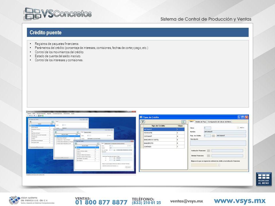 Crédito puente Registros de paquetes financieros Parámetros del crédito (porcentaje de intereses, comisiones, fechas de corte y pago, etc.) Control de los movimientos del crédito Estado de cuenta del saldo insoluto.