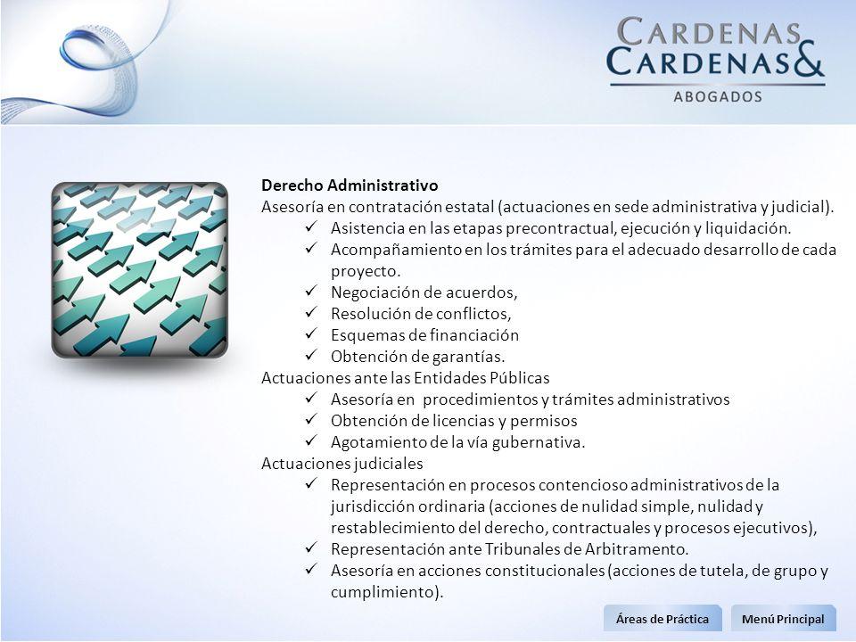 Derecho Administrativo Asesoría en contratación estatal (actuaciones en sede administrativa y judicial). Asistencia en las etapas precontractual, ejec