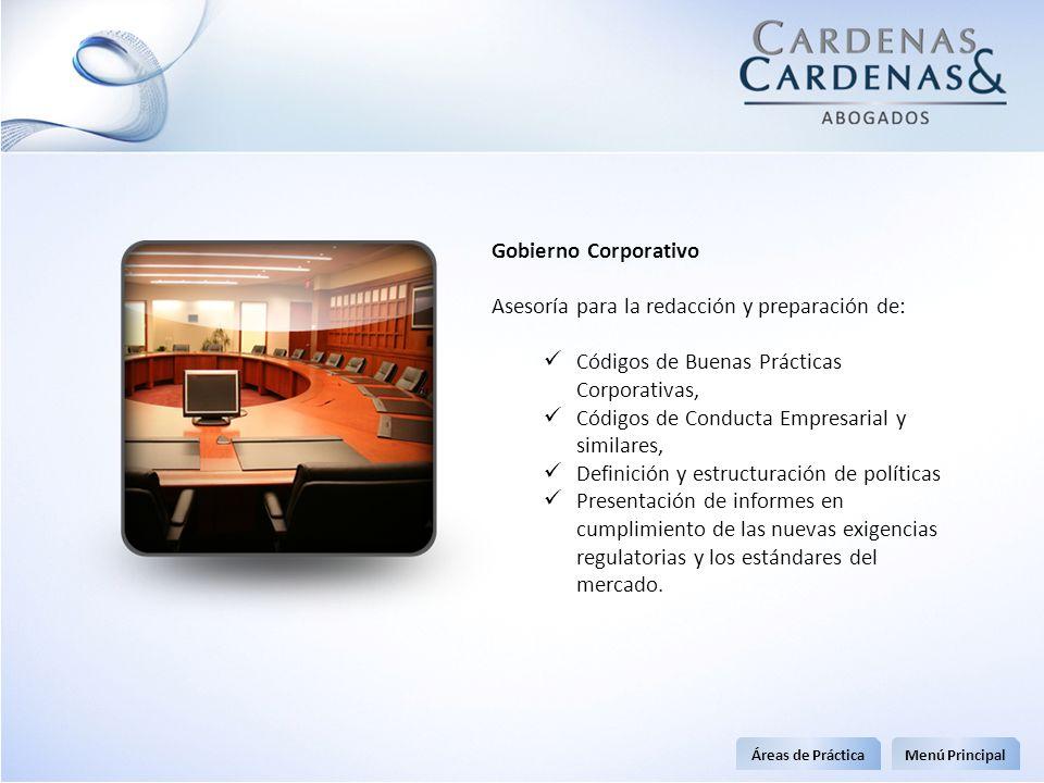 Gobierno Corporativo Asesoría para la redacción y preparación de: Códigos de Buenas Prácticas Corporativas, Códigos de Conducta Empresarial y similare