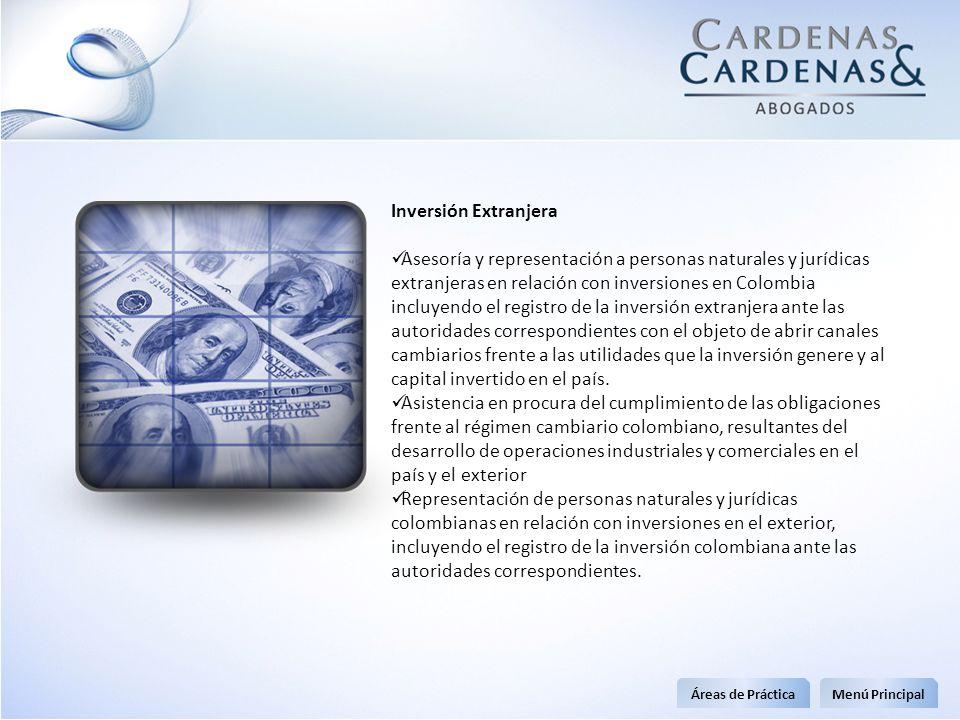 Inversión Extranjera Asesoría y representación a personas naturales y jurídicas extranjeras en relación con inversiones en Colombia incluyendo el regi