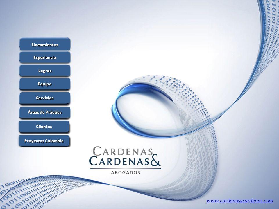 www.cardenasycardenas.com Lineamientos Experiencia Logros Equipo Servicios Áreas de Práctica Áreas de Práctica Áreas de Práctica Áreas de Práctica Cli