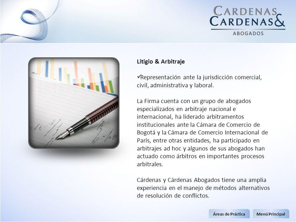 Litigio & Arbitraje Representación ante la jurisdicción comercial, civil, administrativa y laboral. La Firma cuenta con un grupo de abogados especiali