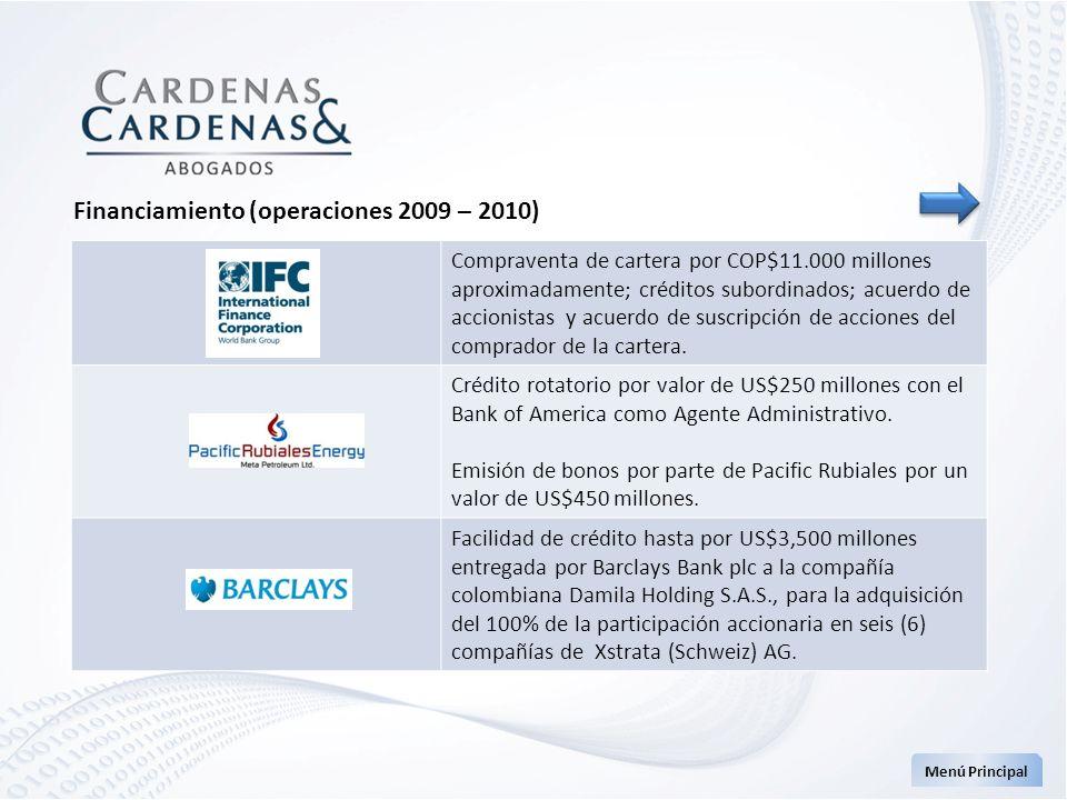 Menú Principal Financiamiento (operaciones 2009 – 2010) Compraventa de cartera por COP$11.000 millones aproximadamente; créditos subordinados; acuerdo
