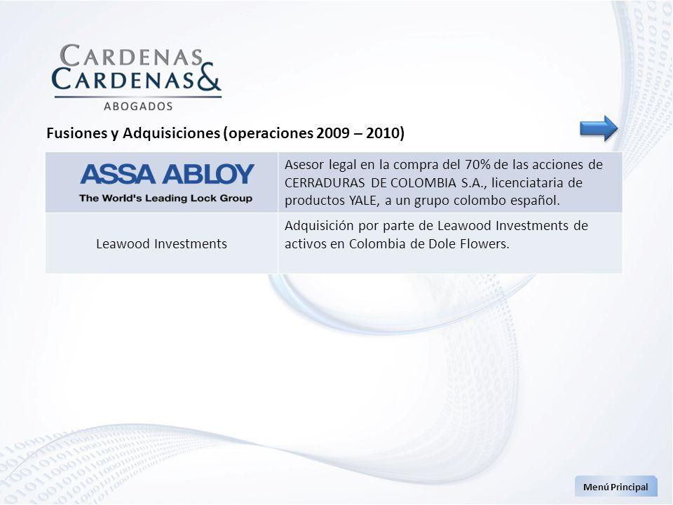 Asesor legal en la compra del 70% de las acciones de CERRADURAS DE COLOMBIA S.A., licenciataria de productos YALE, a un grupo colombo español. Leawood