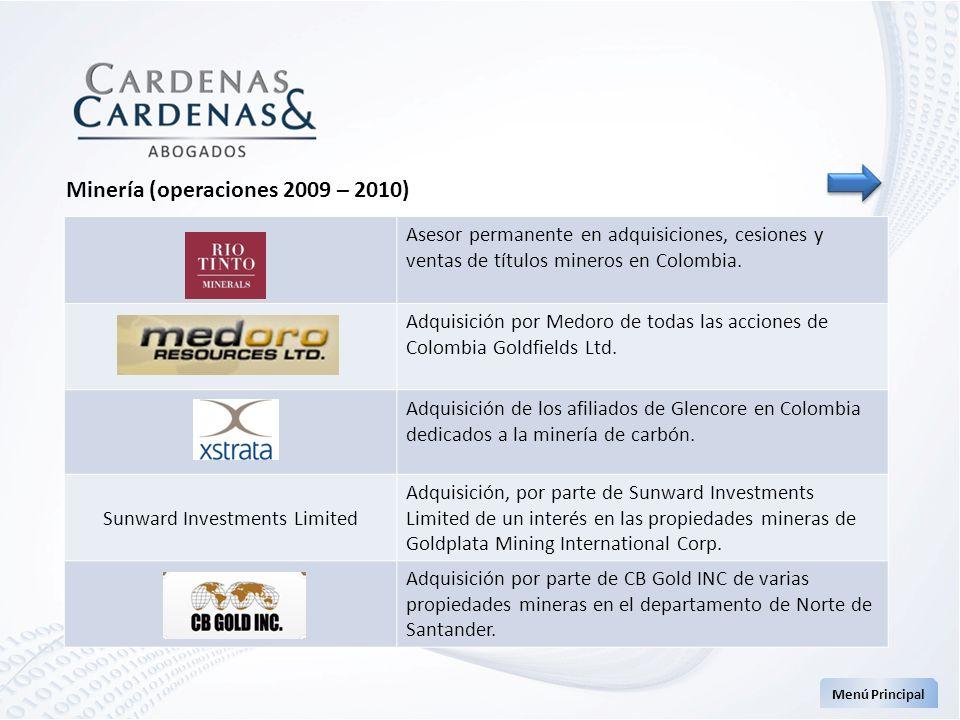 Asesor permanente en adquisiciones, cesiones y ventas de títulos mineros en Colombia. Adquisición por Medoro de todas las acciones de Colombia Goldfie