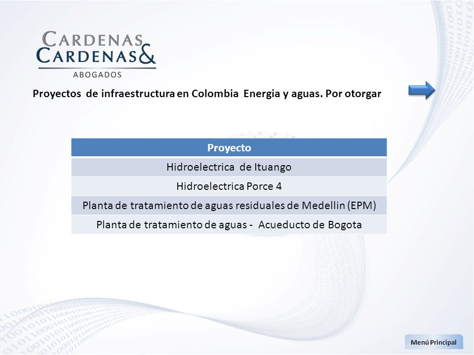 Proyectos de infraestructura en Colombia Energia y aguas. Por otorgar Menú Principal Proyecto Hidroelectrica de Ituango Hidroelectrica Porce 4 Planta