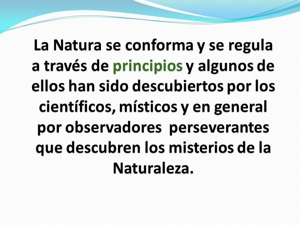 La Natura se conforma y se regula a través de principios y algunos de ellos han sido descubiertos por los científicos, místicos y en general por observadores perseverantes que descubren los misterios de la Naturaleza.