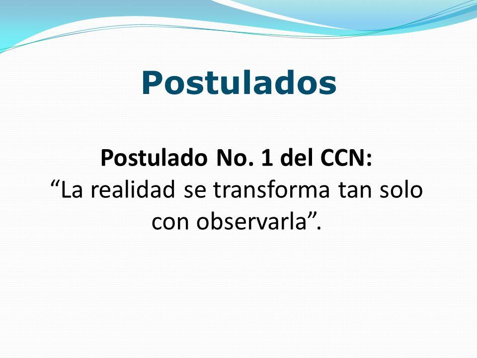 Postulados Postulado No. 1 del CCN: La realidad se transforma tan solo con observarla.