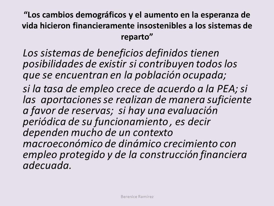 Los cambios demográficos y el aumento en la esperanza de vida hicieron financieramente insostenibles a los sistemas de reparto Berenice Ramírez Los si