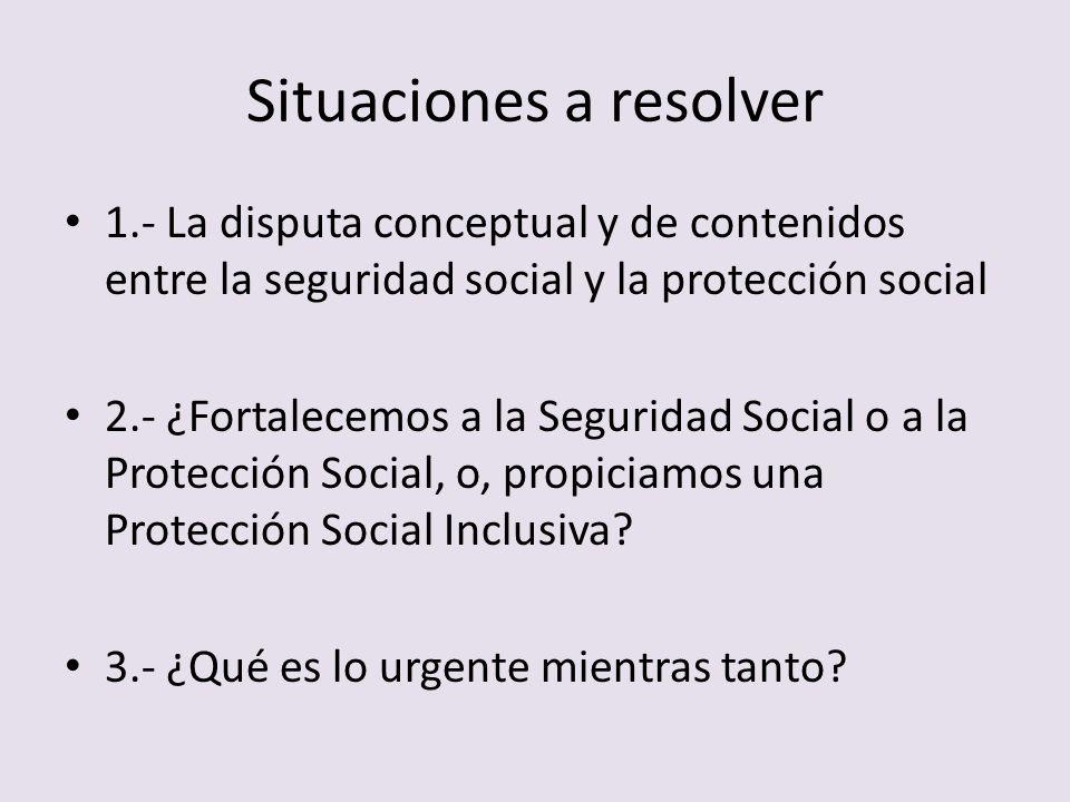 Situaciones a resolver 1.- La disputa conceptual y de contenidos entre la seguridad social y la protección social 2.- ¿Fortalecemos a la Seguridad Soc