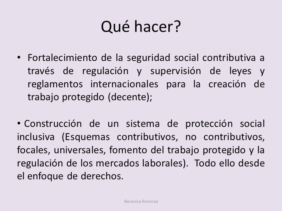 Qué hacer? Berenice Ramírez Fortalecimiento de la seguridad social contributiva a través de regulación y supervisión de leyes y reglamentos internacio