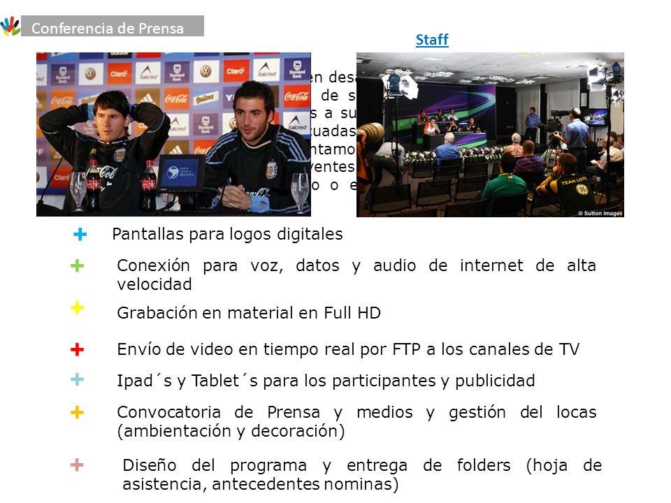 + Somos la primera firma en Bolivia en desarrollar conferencias de Prensa de última generación con tecnología de servicios audiovisuales, nuestros rodajes son a medida, siendo fieles a sus necesidades para conseguir las imágenes y declaraciones más adecuadas y estimulantes.