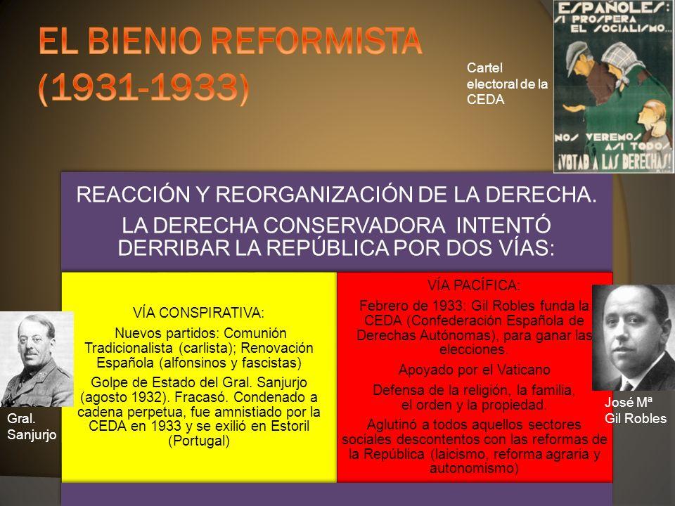 Gral. Sanjurjo José Mª Gil Robles Cartel electoral de la CEDA