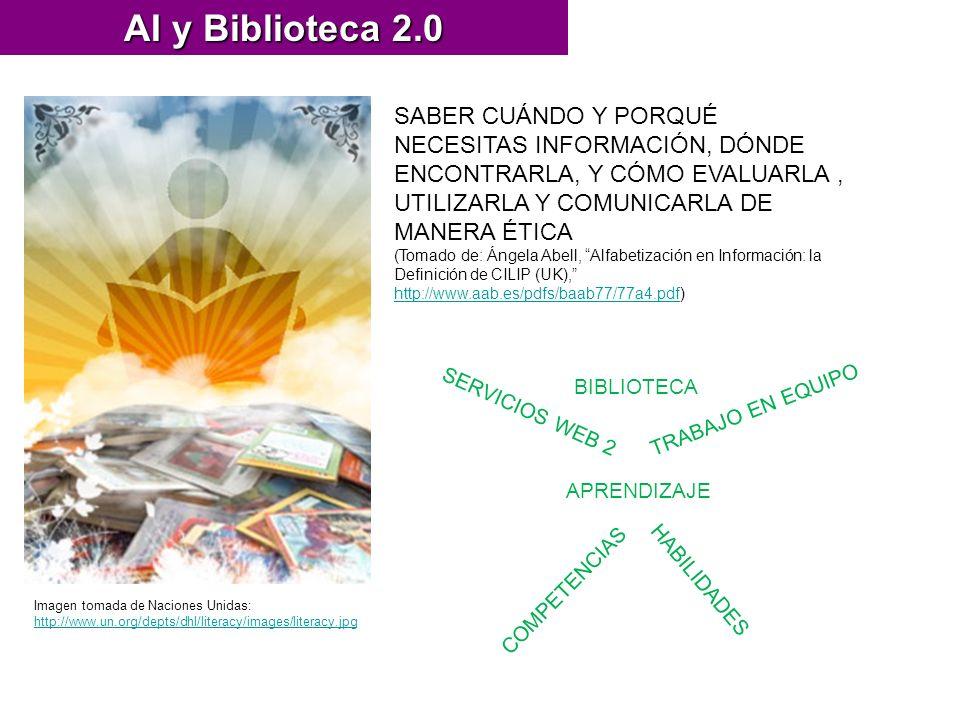 AI y Biblioteca 2.0 Imagen tomada de Naciones Unidas: http://www.un.org/depts/dhl/literacy/images/literacy.jpg http://www.un.org/depts/dhl/literacy/images/literacy.jpg SABER CUÁNDO Y PORQUÉ NECESITAS INFORMACIÓN, DÓNDE ENCONTRARLA, Y CÓMO EVALUARLA, UTILIZARLA Y COMUNICARLA DE MANERA ÉTICA (Tomado de: Ángela Abell, Alfabetización en Información: la Definición de CILIP (UK), http://www.aab.es/pdfs/baab77/77a4.pdf) http://www.aab.es/pdfs/baab77/77a4.pdf APRENDIZAJE COMPETENCIAS HABILIDADES BIBLIOTECA TRABAJO EN EQUIPO SERVICIOS WEB 2