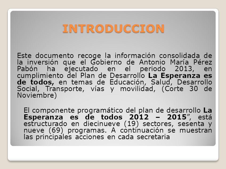 INTRODUCCION Este documento recoge la información consolidada de la inversión que el Gobierno de Antonio María Pérez Pabón ha ejecutado en el periodo