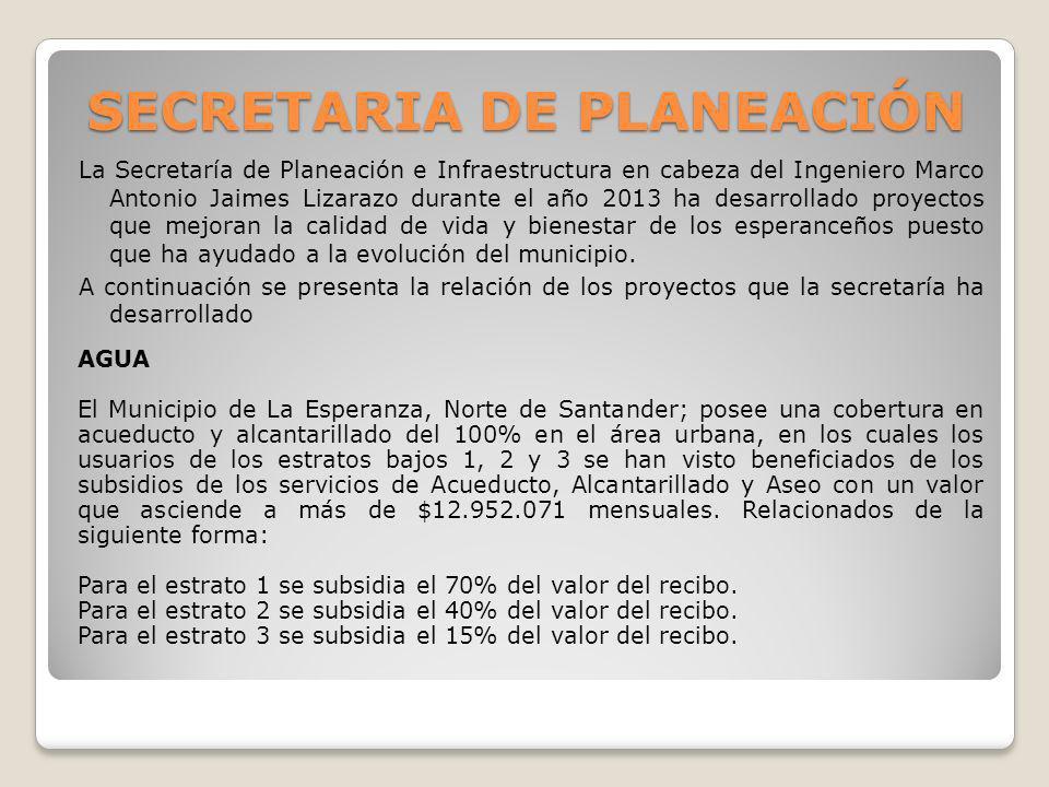 SECRETARIA DE PLANEACIÓN La Secretaría de Planeación e Infraestructura en cabeza del Ingeniero Marco Antonio Jaimes Lizarazo durante el año 2013 ha de