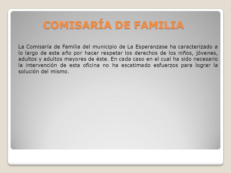 COMISARÍA DE FAMILIA La Comisaría de Familia del municipio de La Esperanzase ha caracterizado a lo largo de este año por hacer respetar los derechos d