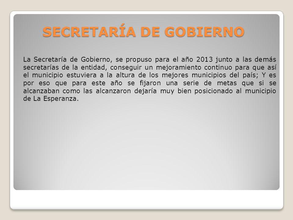 SECRETARÍA DE GOBIERNO La Secretaría de Gobierno, se propuso para el año 2013 junto a las demás secretarías de la entidad, conseguir un mejoramiento c