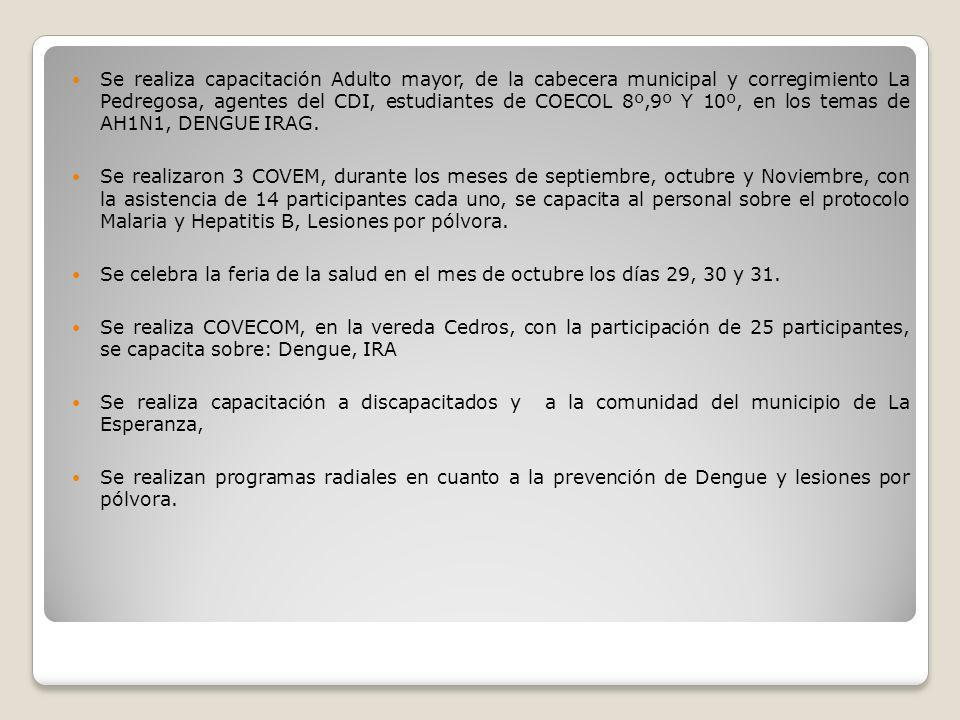 Se realiza capacitación Adulto mayor, de la cabecera municipal y corregimiento La Pedregosa, agentes del CDI, estudiantes de COECOL 8º,9º Y 10º, en lo