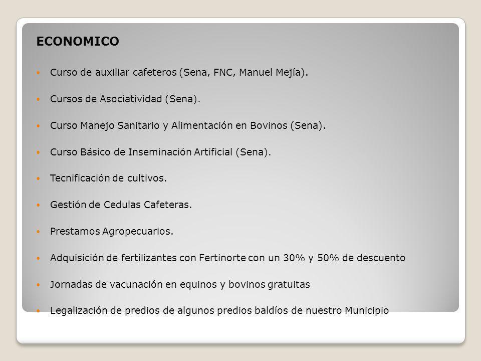 ECONOMICO Curso de auxiliar cafeteros (Sena, FNC, Manuel Mejía). Cursos de Asociatividad (Sena). Curso Manejo Sanitario y Alimentación en Bovinos (Sen
