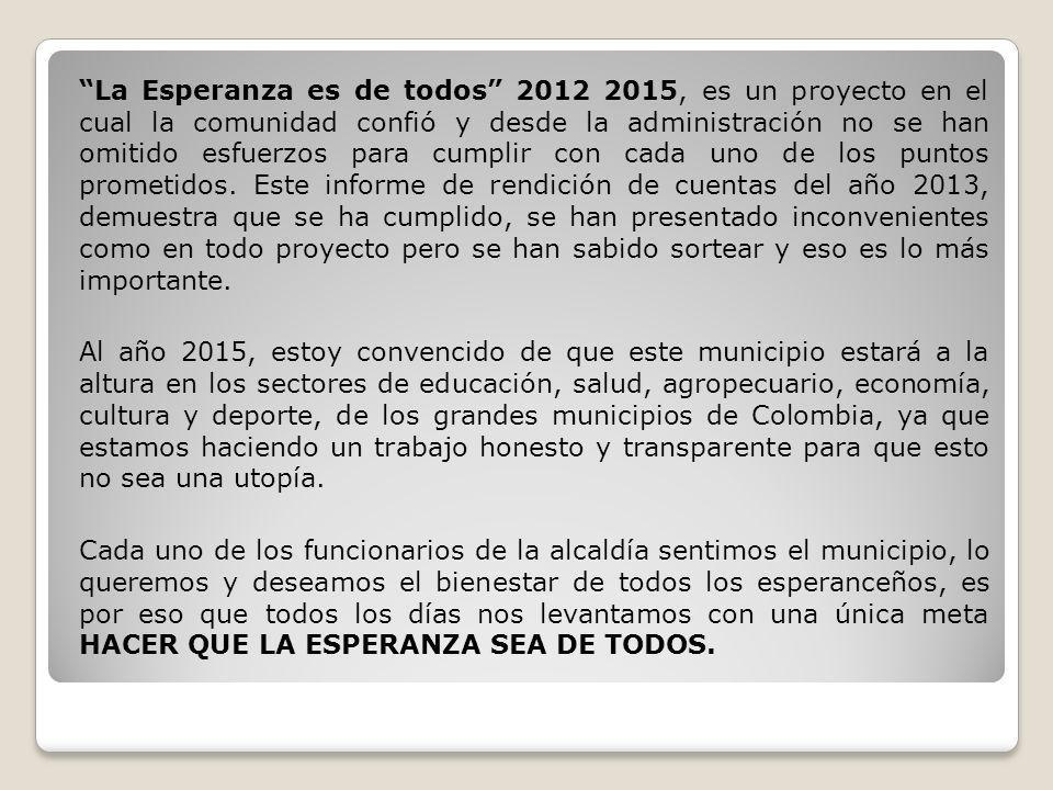 La Esperanza es de todos 2012 2015, es un proyecto en el cual la comunidad confió y desde la administración no se han omitido esfuerzos para cumplir c