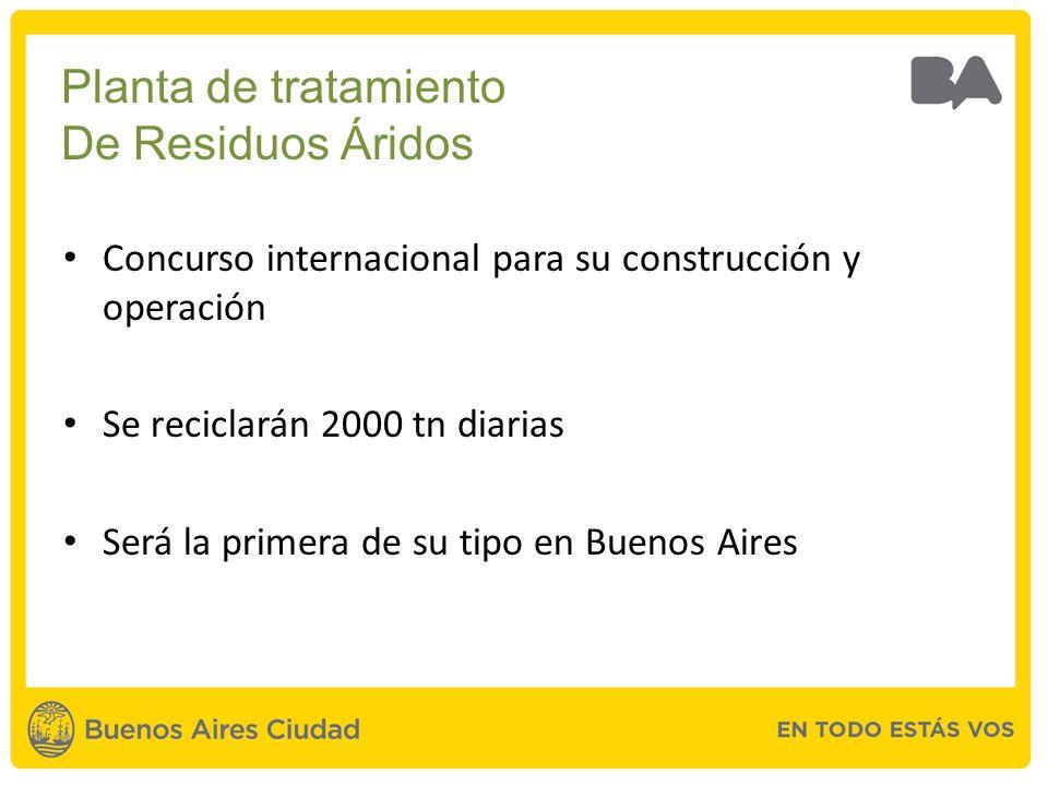 Concurso internacional para su construcción y operación Se reciclarán 2000 tn diarias Será la primera de su tipo en Buenos Aires Planta de tratamiento De Residuos Áridos