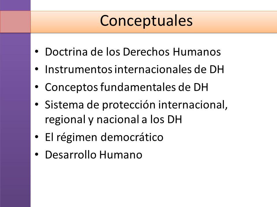 Conceptuales Doctrina de los Derechos Humanos Instrumentos internacionales de DH Conceptos fundamentales de DH Sistema de protección internacional, re
