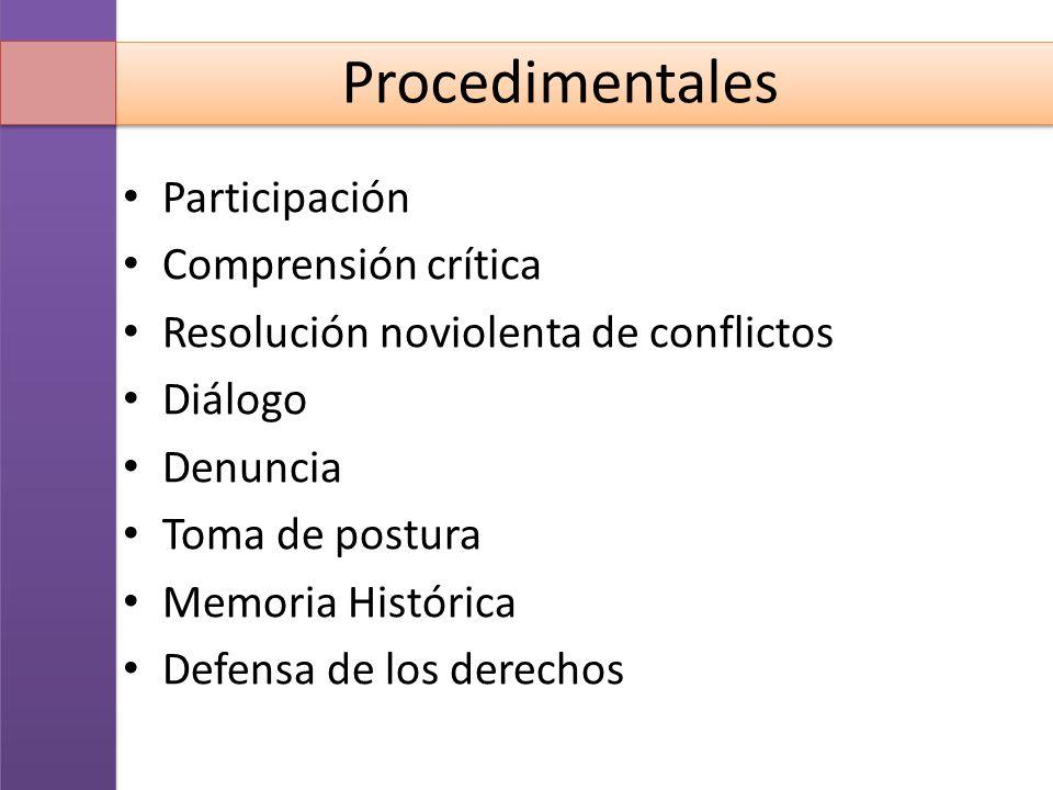 Procedimentales Participación Comprensión crítica Resolución noviolenta de conflictos Diálogo Denuncia Toma de postura Memoria Histórica Defensa de lo