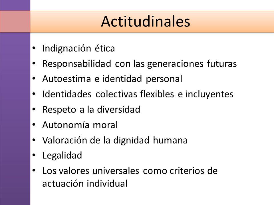 Actitudinales Indignación ética Responsabilidad con las generaciones futuras Autoestima e identidad personal Identidades colectivas flexibles e incluy