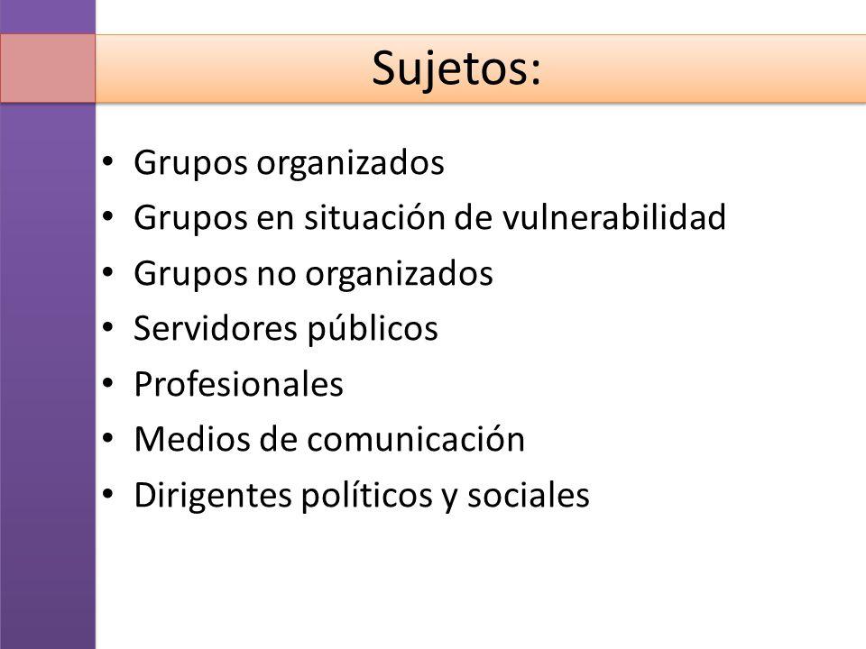 Sujetos: Grupos organizados Grupos en situación de vulnerabilidad Grupos no organizados Servidores públicos Profesionales Medios de comunicación Dirig
