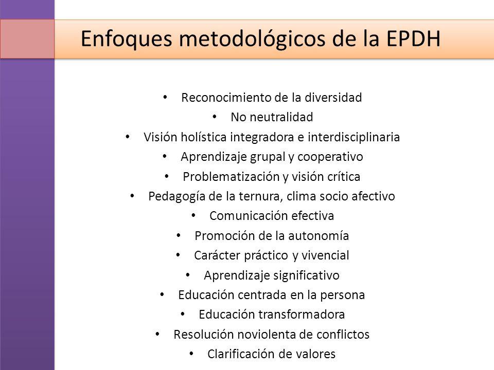 Enfoques metodológicos de la EPDH Reconocimiento de la diversidad No neutralidad Visión holística integradora e interdisciplinaria Aprendizaje grupal