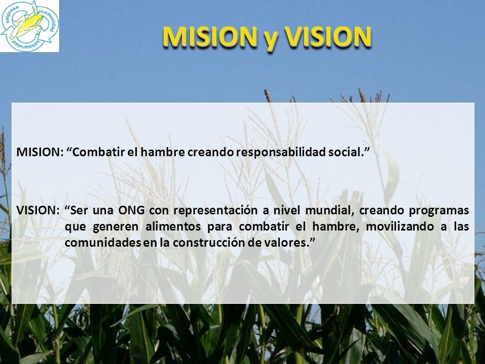 MISION y VISION MISION: Combatir el hambre creando responsabilidad social. VISION: Ser una ONG con representación a nivel mundial, creando programas q