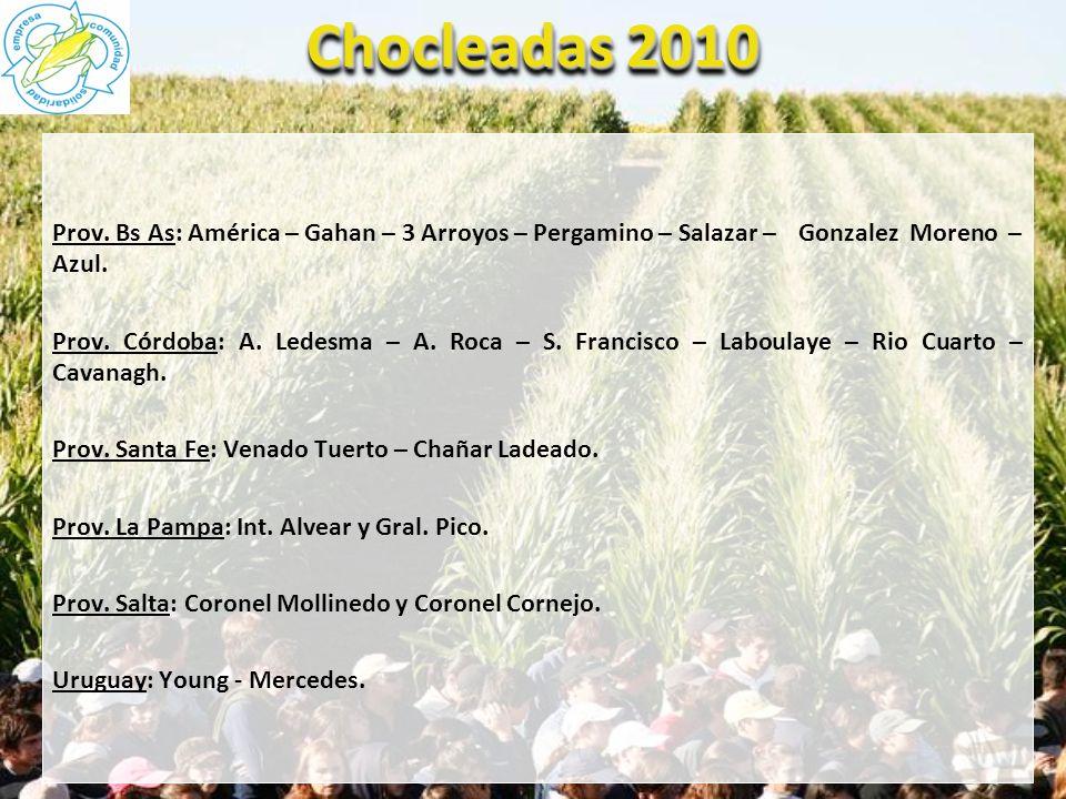 Chocleadas 2010 Prov. Bs As: América – Gahan – 3 Arroyos – Pergamino – Salazar –Gonzalez Moreno – Azul. Prov. Córdoba: A. Ledesma – A. Roca – S. Franc