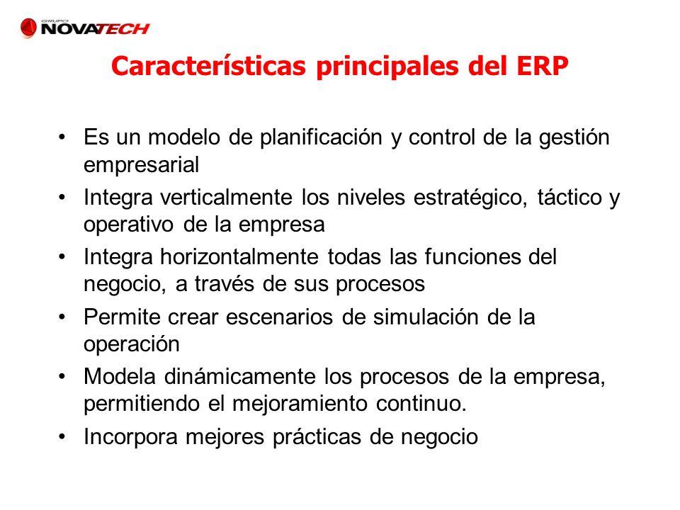 Características principales del ERP Es un modelo de planificación y control de la gestión empresarial Integra verticalmente los niveles estratégico, t