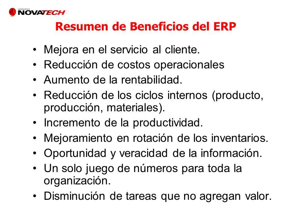 Resumen de Beneficios del ERP Mejora en el servicio al cliente. Reducción de costos operacionales Aumento de la rentabilidad. Reducción de los ciclos
