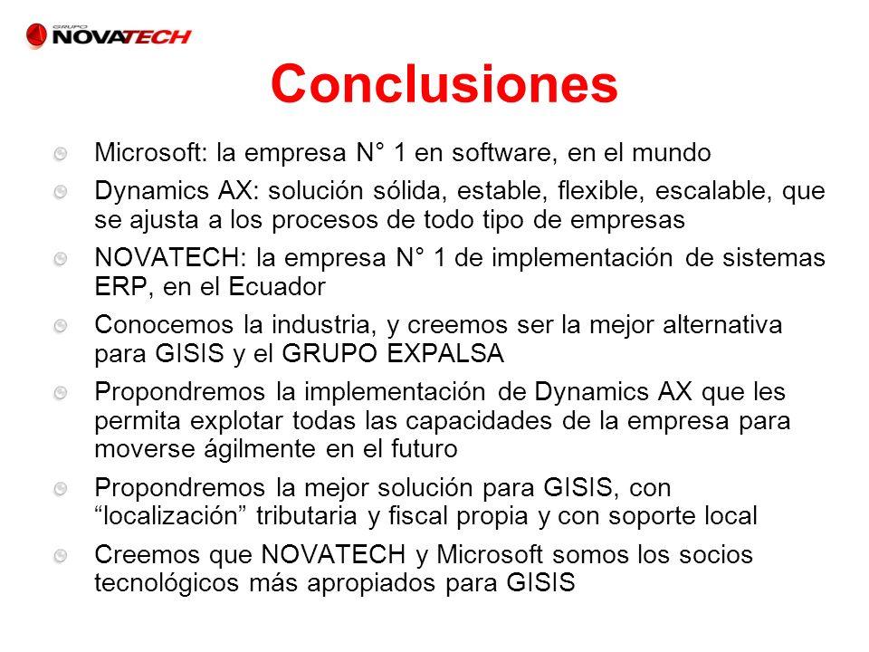 Microsoft: la empresa N° 1 en software, en el mundo Dynamics AX: solución sólida, estable, flexible, escalable, que se ajusta a los procesos de todo t