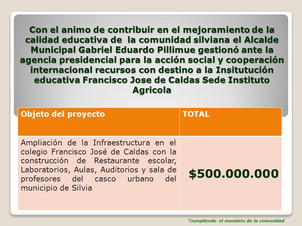 Con el animo de contribuir en el mejoramiento de la calidad educativa de la comunidad silviana el Alcalde Municipal Gabriel Eduardo Pillimue gestionó