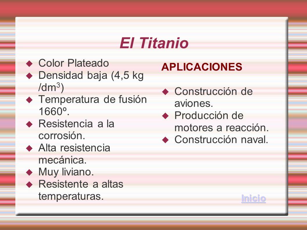 El Titanio Color Plateado Densidad baja (4,5 kg /dm 3 ) Temperatura de fusión 1660º. Resistencia a la corrosión. Alta resistencia mecánica. Muy livian
