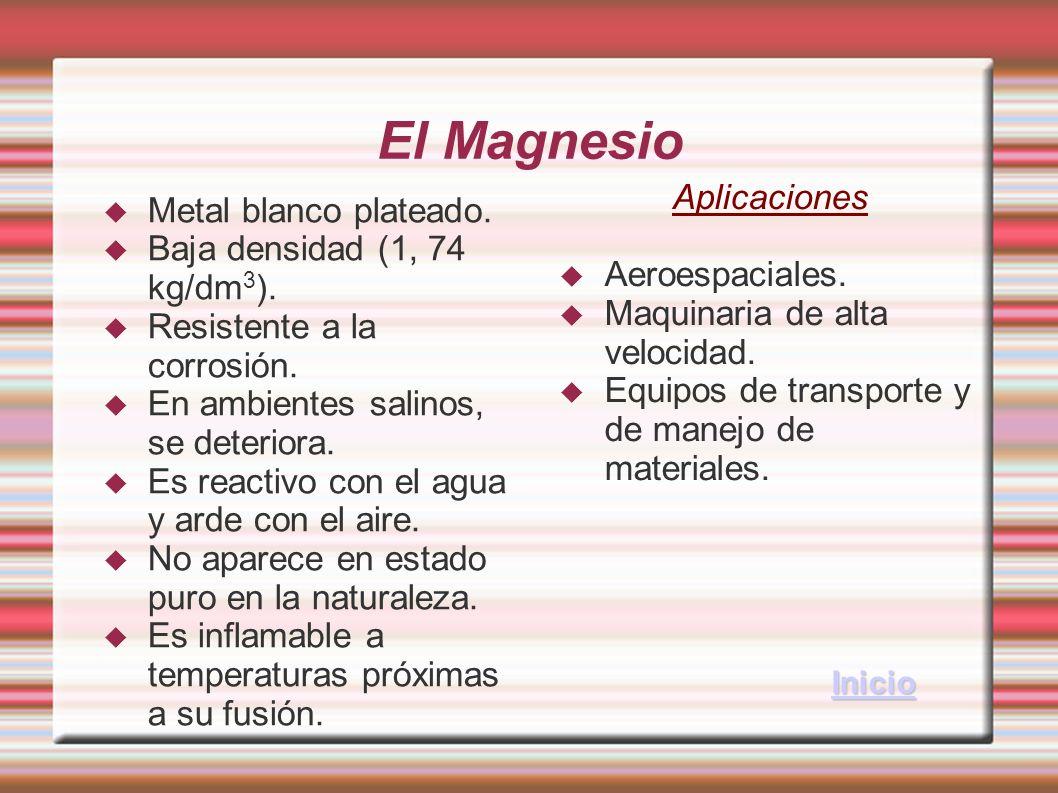 El Magnesio Metal blanco plateado. Baja densidad (1, 74 kg/dm 3 ). Resistente a la corrosión. En ambientes salinos, se deteriora. Es reactivo con el a