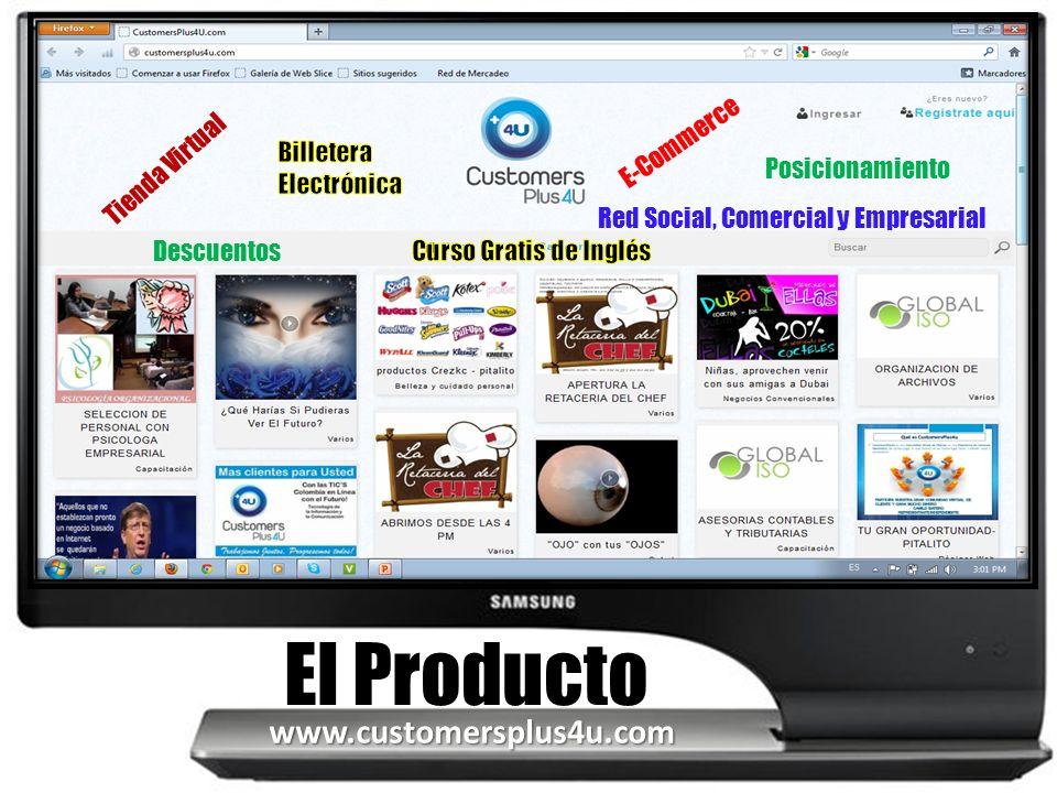 Tienda Virtual Red Social, Comercial y Empresarial El Producto E-Commerce Posicionamiento Descuentos www.customersplus4u.com