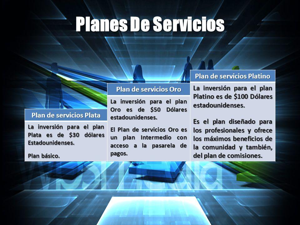 Planes De Servicios Plan de servicios Plata La inversión para el plan Plata es de $30 dólares Estadounidenses.