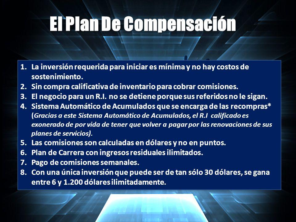 El Plan De Compensación 1.La inversión requerida para iniciar es mínima y no hay costos de sostenimiento.