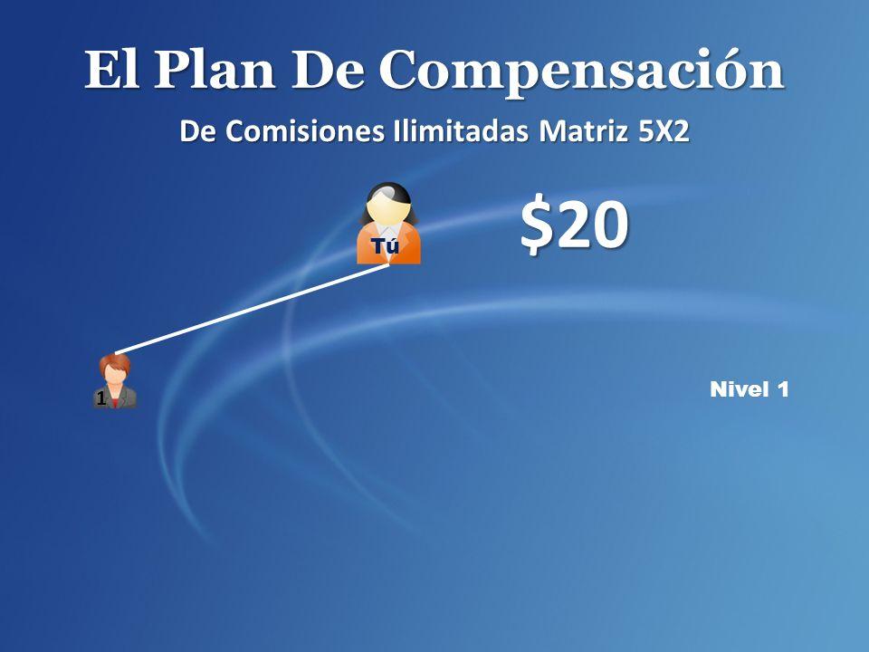 El Plan De Compensación De Comisiones Ilimitadas Matriz 5X2 Nivel 1 $20 1 Tú