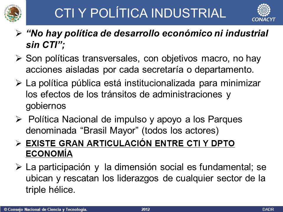 © Consejo Nacional de Ciencia y Tecnología. 2012 DADR CTI Y POLÍTICA INDUSTRIAL No hay política de desarrollo económico ni industrial sin CTI; Son pol
