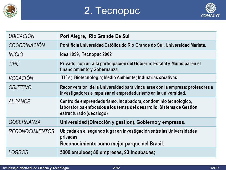 © Consejo Nacional de Ciencia y Tecnología. 2012 DADR 2. Tecnopuc UBICACIÓN Port Alegre, Rio Grande De Sul COORDINACIÓN Pontificia Universidad Católic
