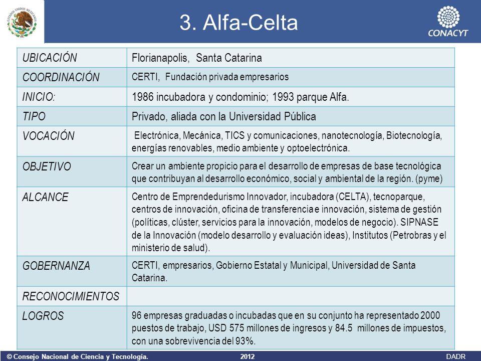 © Consejo Nacional de Ciencia y Tecnología. 2012 DADR 3. Alfa-Celta UBICACIÓN Florianapolis, Santa Catarina COORDINACIÓN CERTI, Fundación privada empr