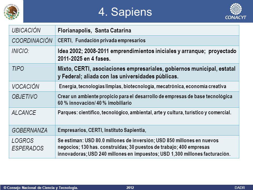 © Consejo Nacional de Ciencia y Tecnología. 2012 DADR 4. Sapiens UBICACIÓN Florianapolis, Santa Catarina COORDINACIÓN CERTI, Fundación privada empresa
